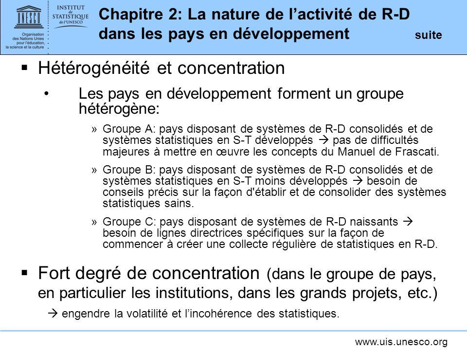 www.uis.unesco.org Chapitre 2: La nature de lactivité de R-D dans les pays en développement suite Hétérogénéité et concentration Les pays en développe