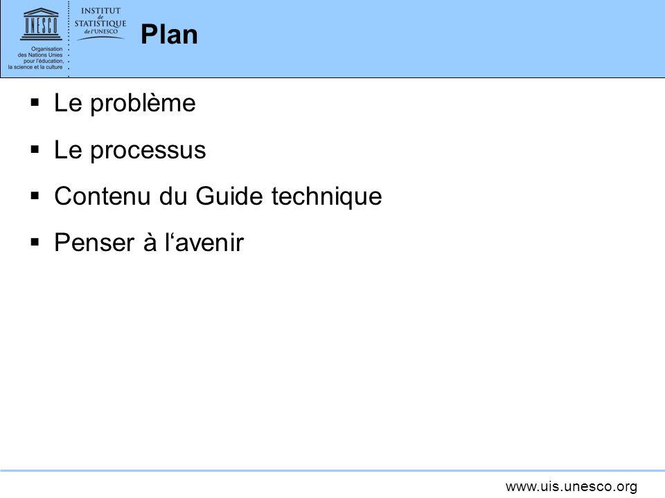 www.uis.unesco.org Plan Le problème Le processus Contenu du Guide technique Penser à lavenir