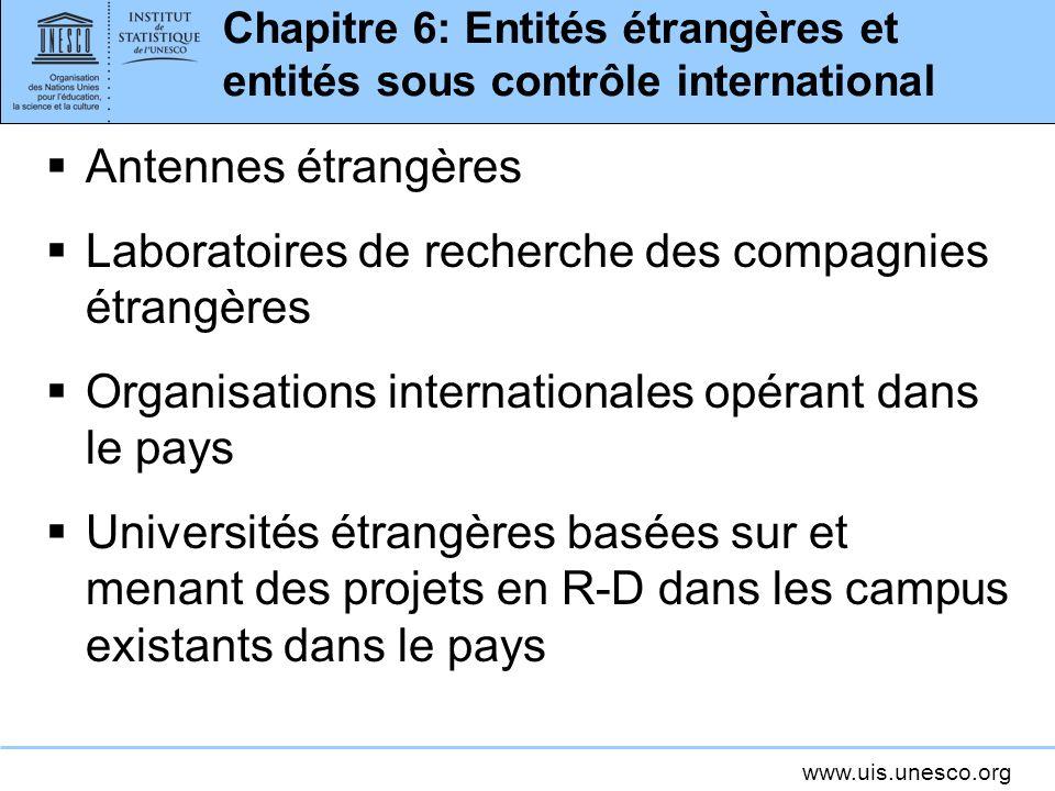www.uis.unesco.org Chapitre 6: Entités étrangères et entités sous contrôle international Antennes étrangères Laboratoires de recherche des compagnies