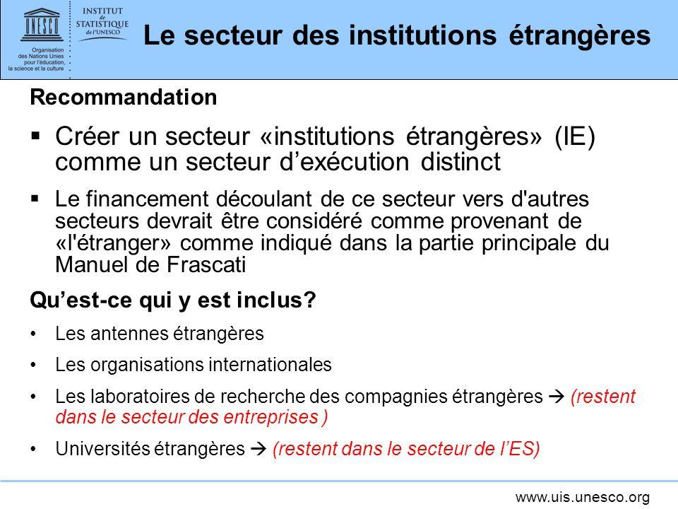 www.uis.unesco.org Le secteur des institutions étrangères Recommandation Créer un secteur «institutions étrangères» (IE) comme un secteur dexécution d