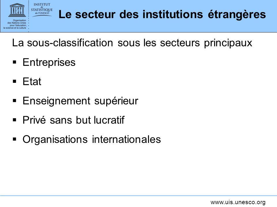 www.uis.unesco.org Le secteur des institutions étrangères La sous-classification sous les secteurs principaux Entreprises Etat Enseignement supérieur