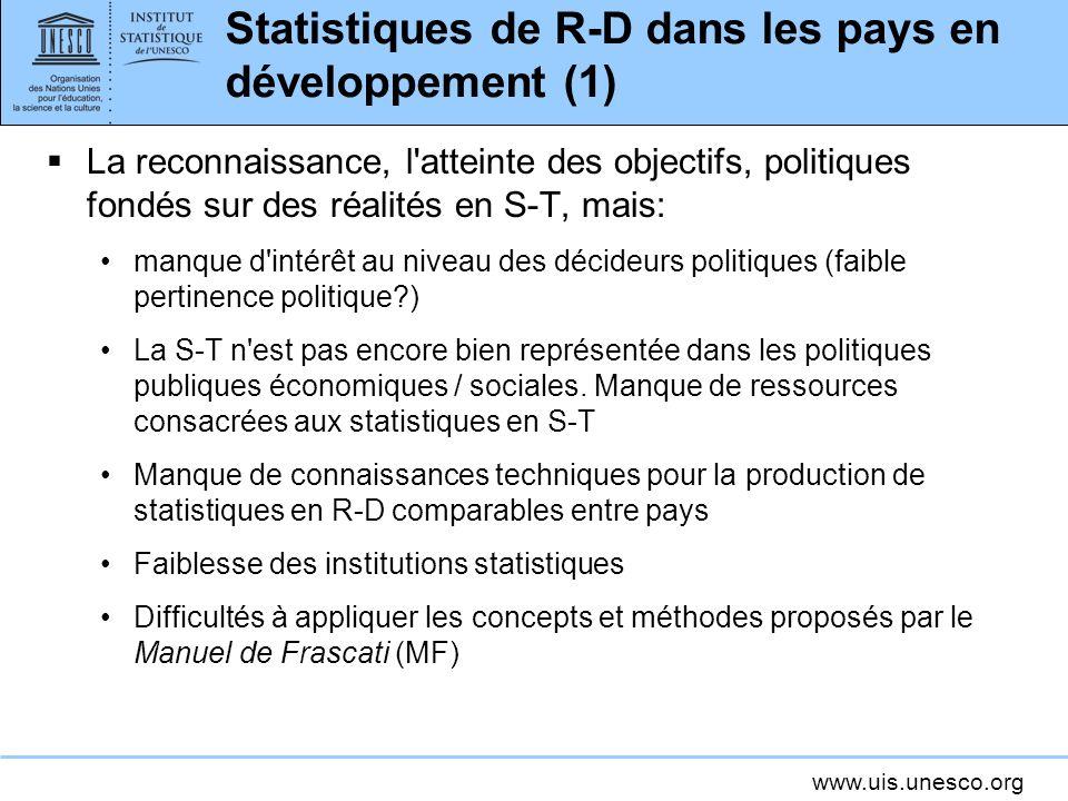 www.uis.unesco.org Statistiques de R-D dans les pays en développement (1) La reconnaissance, l'atteinte des objectifs, politiques fondés sur des réali