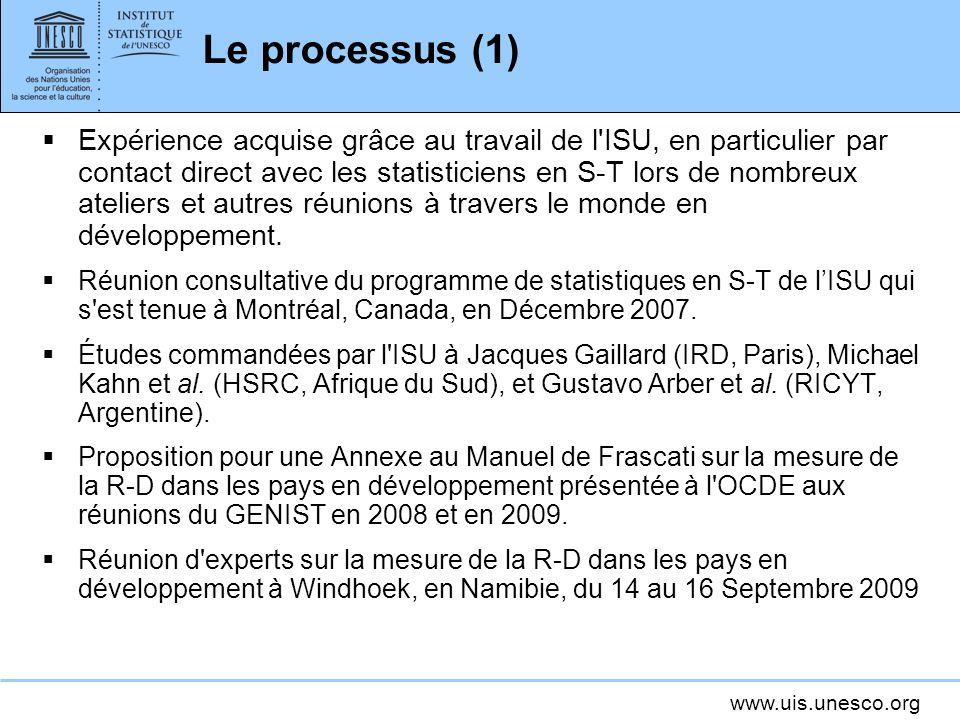 www.uis.unesco.org Le processus (1) Expérience acquise grâce au travail de l'ISU, en particulier par contact direct avec les statisticiens en S-T lors
