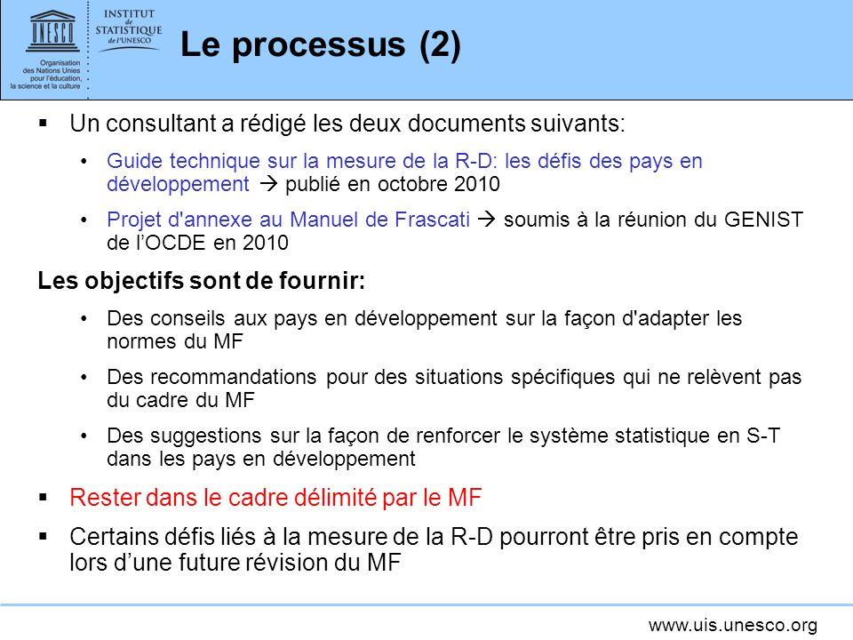 www.uis.unesco.org Le processus (2) Un consultant a rédigé les deux documents suivants: Guide technique sur la mesure de la R-D: les défis des pays en