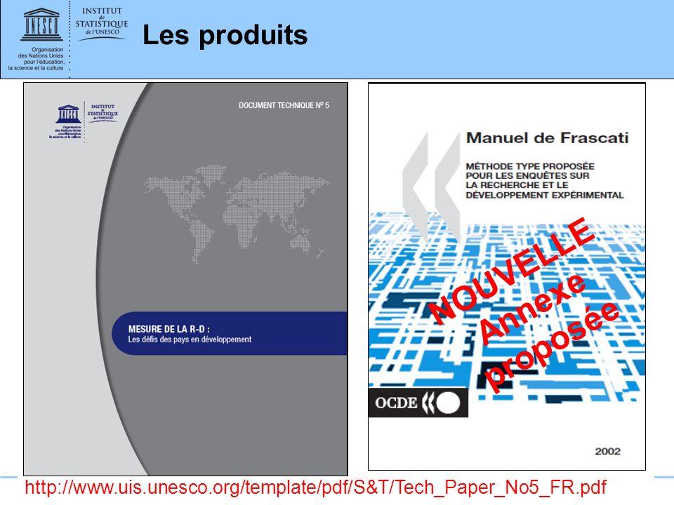 www.uis.unesco.org Les produits http://www.uis.unesco.org/template/pdf/S&T/Tech_Paper_No5_FR.pdf NOUVELLE Annexe proposée