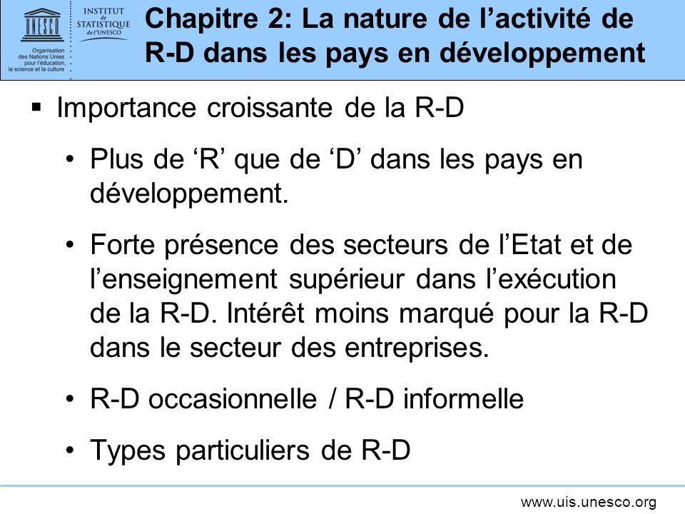 www.uis.unesco.org Chapitre 2: La nature de lactivité de R-D dans les pays en développement Importance croissante de la R-D Plus de R que de D dans le