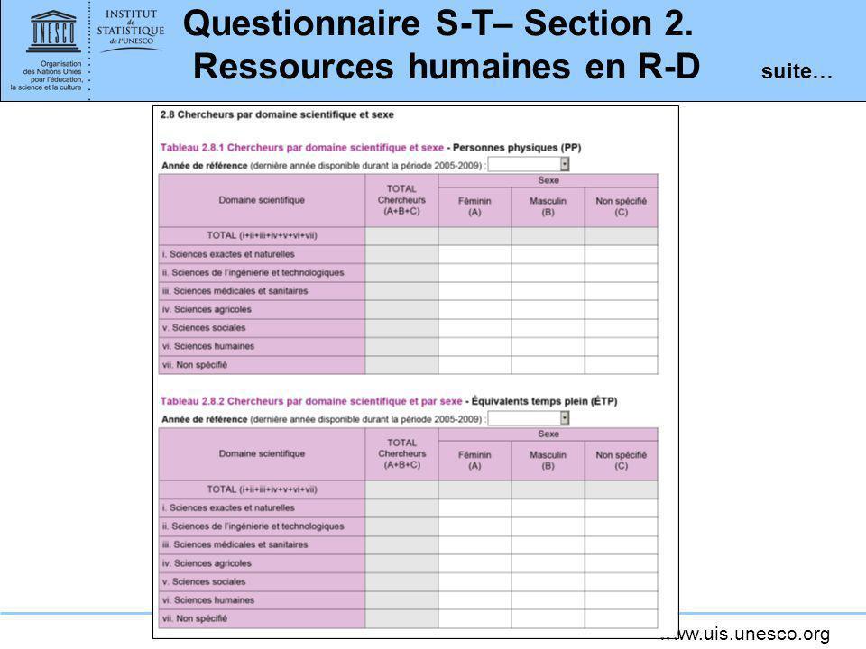 www.uis.unesco.org Questionnaire S-T– Section 2. Ressources humaines en R-D suite…