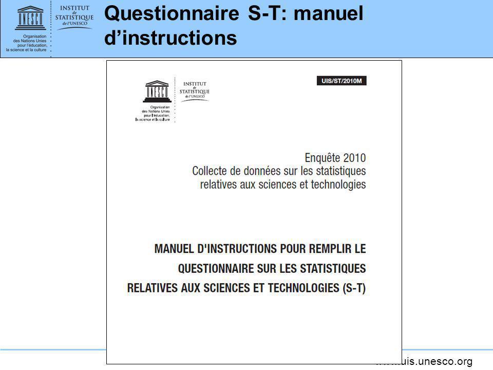 www.uis.unesco.org Questionnaire S-T: manuel dinstructions