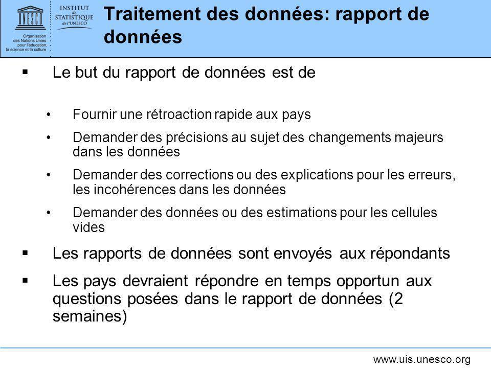 www.uis.unesco.org Traitement des données: rapport de données Le but du rapport de données est de Fournir une rétroaction rapide aux pays Demander des