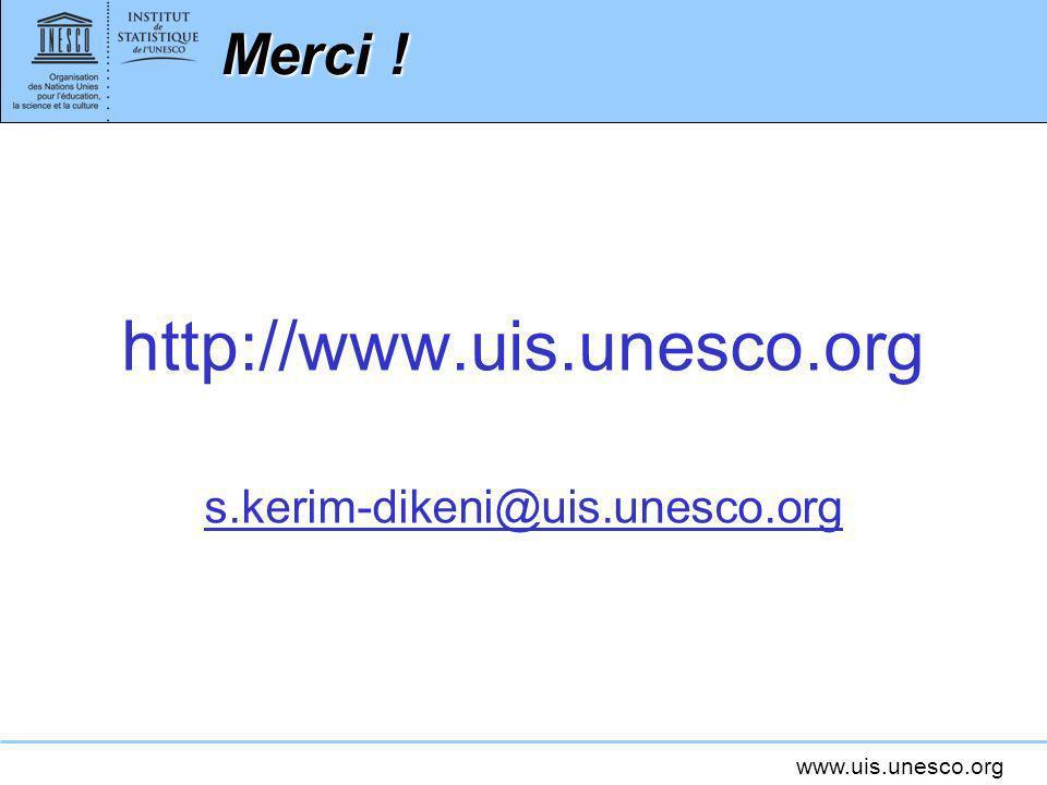 www.uis.unesco.org Merci ! http://www.uis.unesco.org s.kerim-dikeni@uis.unesco.org