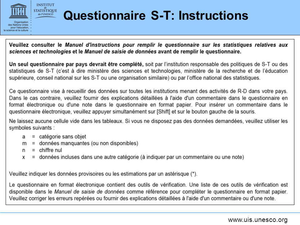 www.uis.unesco.org Questionnaire S-T: Instructions