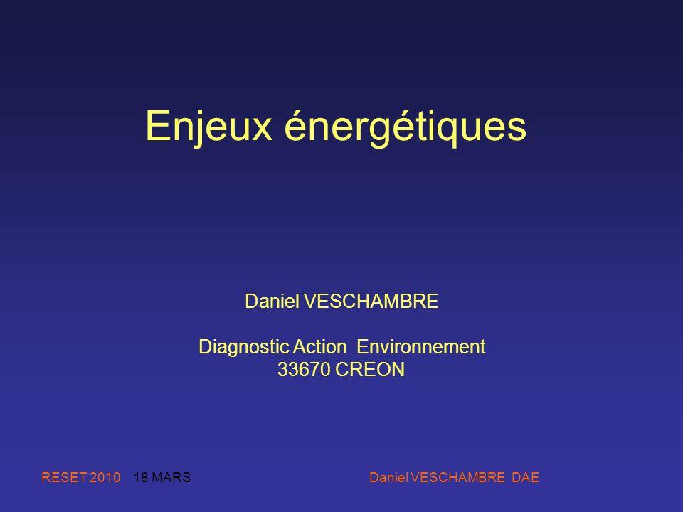 RESET 2010 18 MARS Daniel VESCHAMBRE DAE Enjeux énergétiques Daniel VESCHAMBRE Diagnostic Action Environnement 33670 CREON