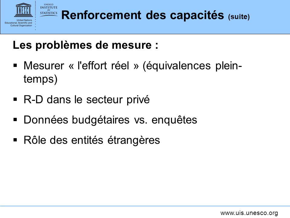 www.uis.unesco.org Renforcement des capacités (suite) Les problèmes de mesure : Mesurer « l effort réel » (équivalences plein- temps) R-D dans le secteur privé Données budgétaires vs.