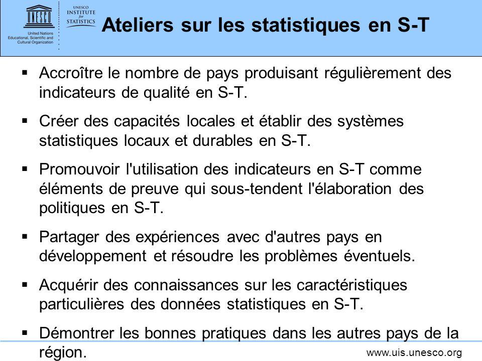 www.uis.unesco.org Ateliers sur les statistiques en S-T Accroître le nombre de pays produisant régulièrement des indicateurs de qualité en S-T.