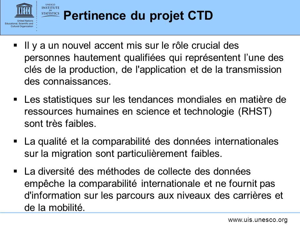 www.uis.unesco.org Pertinence du projet CTD Il y a un nouvel accent mis sur le rôle crucial des personnes hautement qualifiées qui représentent lune des clés de la production, de l application et de la transmission des connaissances.
