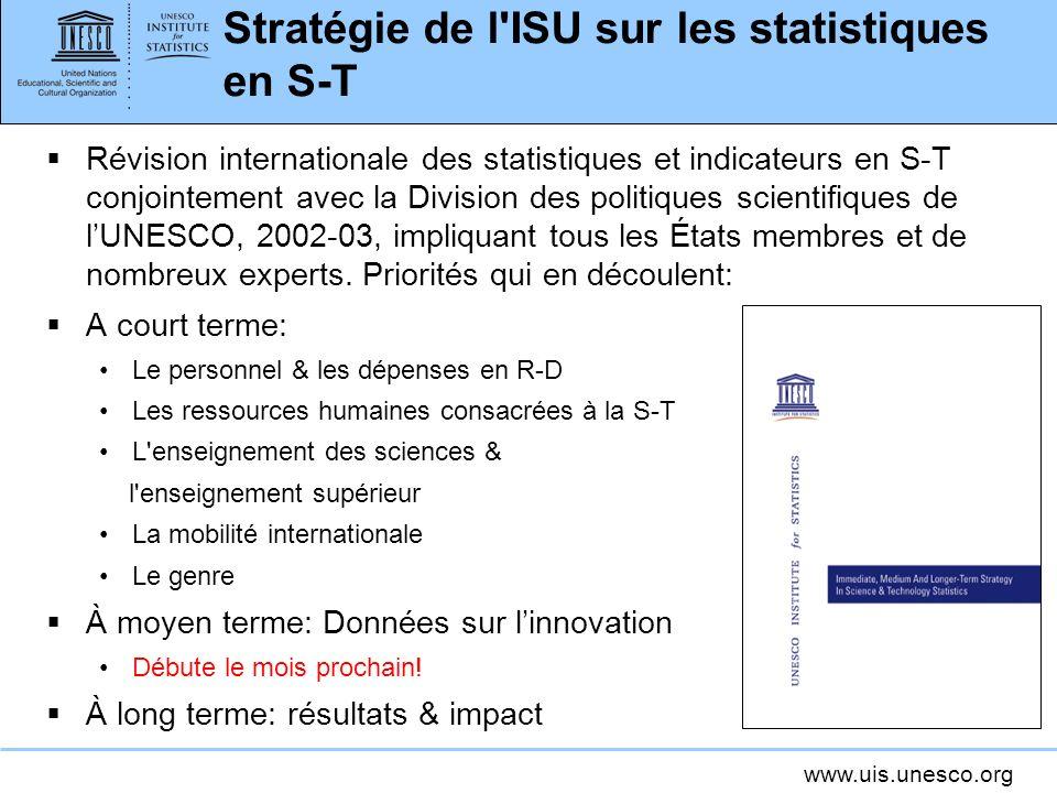 www.uis.unesco.org Stratégie de l ISU sur les statistiques en S-T Révision internationale des statistiques et indicateurs en S-T conjointement avec la Division des politiques scientifiques de lUNESCO, 2002-03, impliquant tous les États membres et de nombreux experts.
