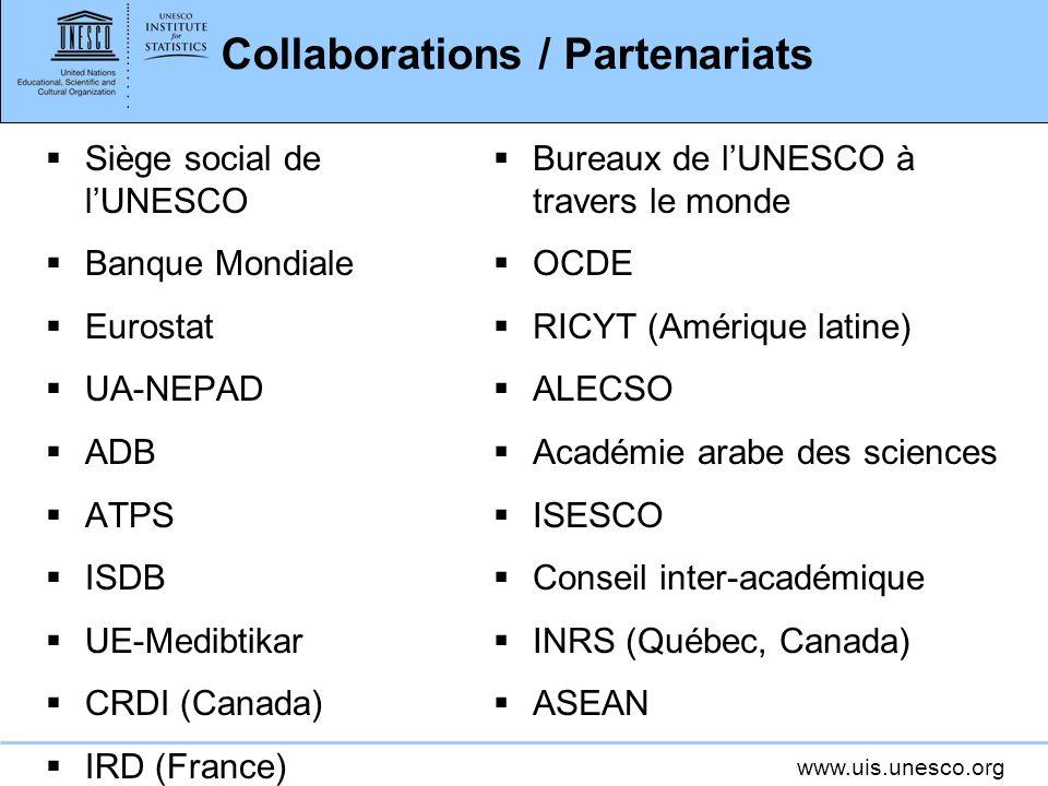 www.uis.unesco.org Collaborations / Partenariats Siège social de lUNESCO Banque Mondiale Eurostat UA-NEPAD ADB ATPS ISDB UE-Medibtikar CRDI (Canada) IRD (France) Bureaux de lUNESCO à travers le monde OCDE RICYT (Amérique latine) ALECSO Académie arabe des sciences ISESCO Conseil inter-académique INRS (Québec, Canada) ASEAN