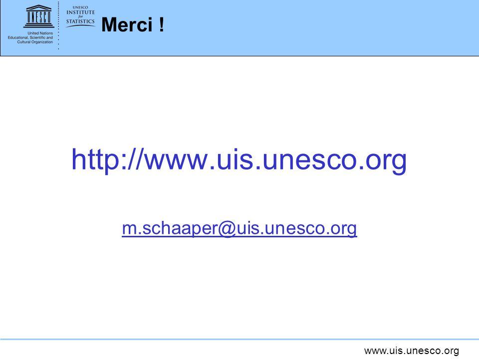 www.uis.unesco.org Merci ! http://www.uis.unesco.org m.schaaper@uis.unesco.org