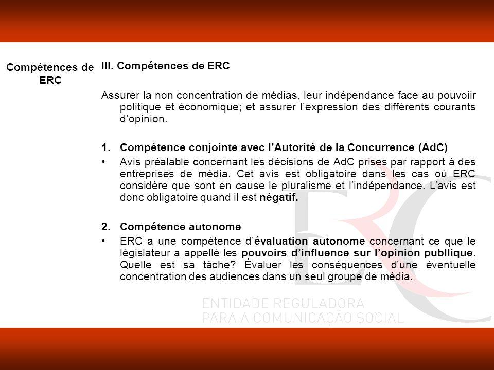 Compétences de ERC III.