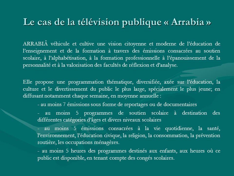 Le cas de la télévision publique « Arrabia » ARRABIÂ véhicule et cultive une vision citoyenne et moderne de léducation de lenseignement et de la forma