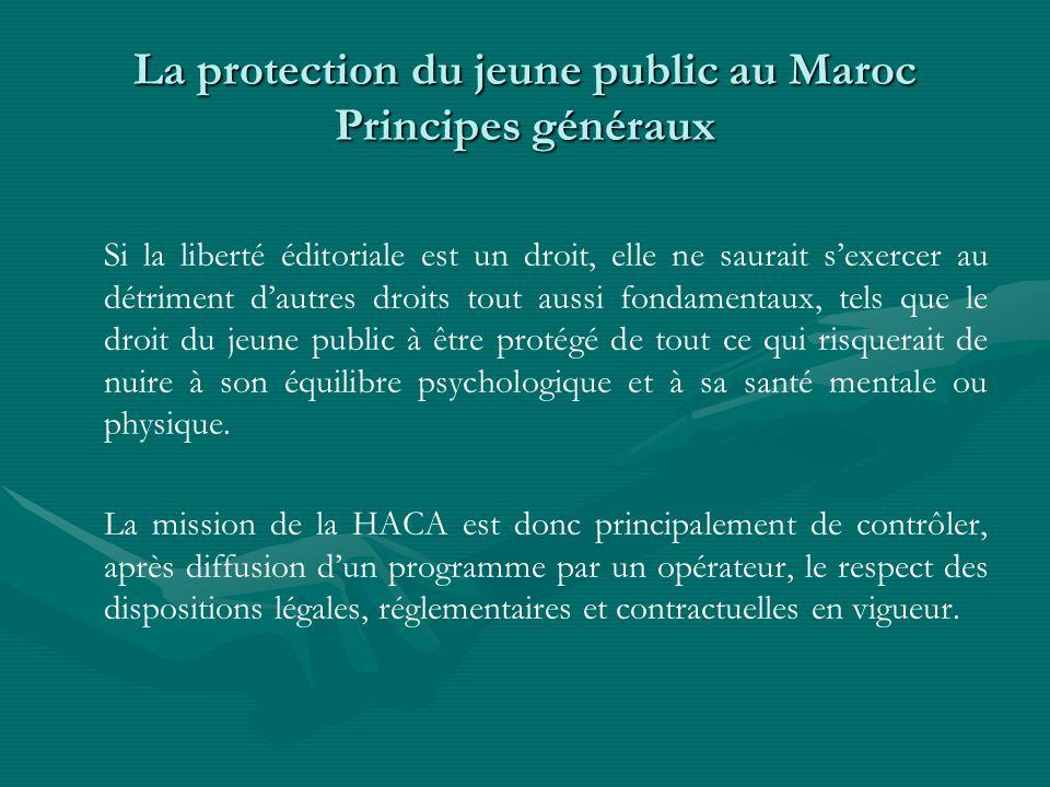 La protection du jeune public au Maroc Principes généraux Si la liberté éditoriale est un droit, elle ne saurait sexercer au détriment dautres droits