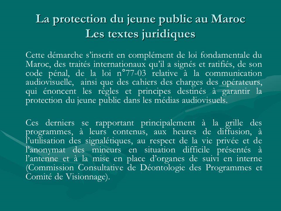 La protection du jeune public au Maroc Les textes juridiques Cette démarche sinscrit en complément de loi fondamentale du Maroc, des traités internati