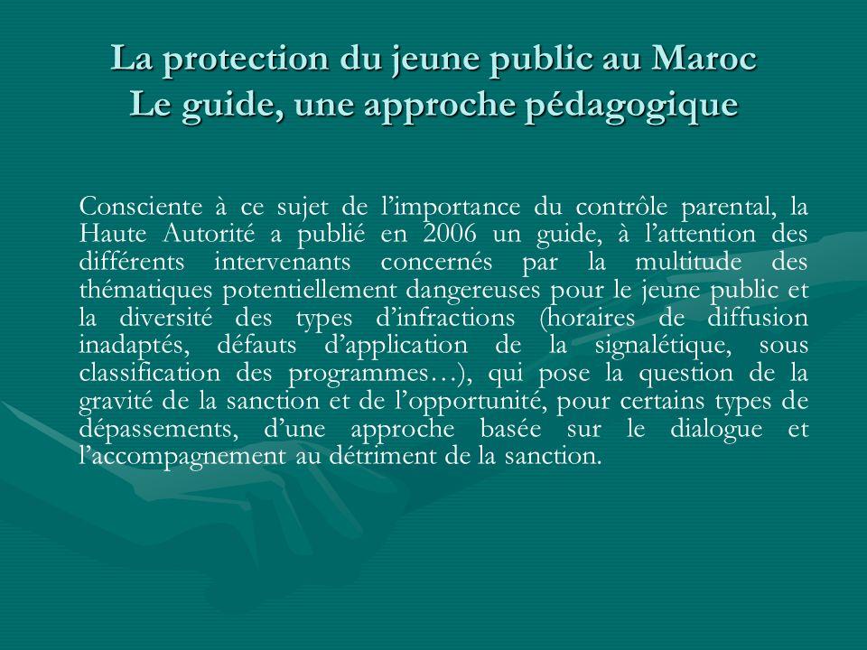 La protection du jeune public au Maroc Le guide, une approche pédagogique Consciente à ce sujet de limportance du contrôle parental, la Haute Autorité