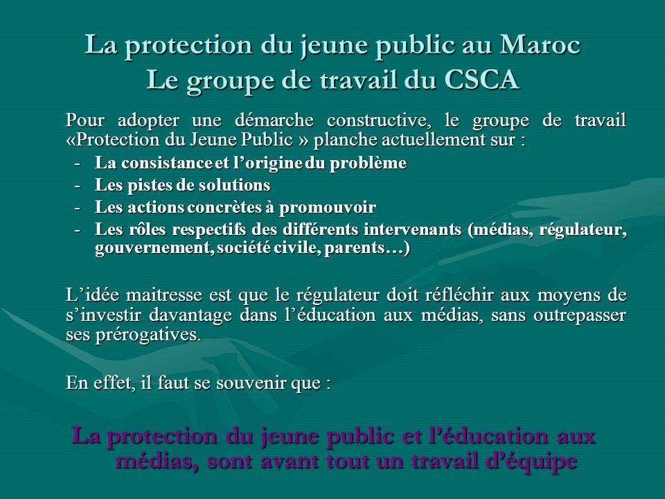 La protection du jeune public au Maroc Le groupe de travail du CSCA Pour adopter une démarche constructive, le groupe de travail «Protection du Jeune