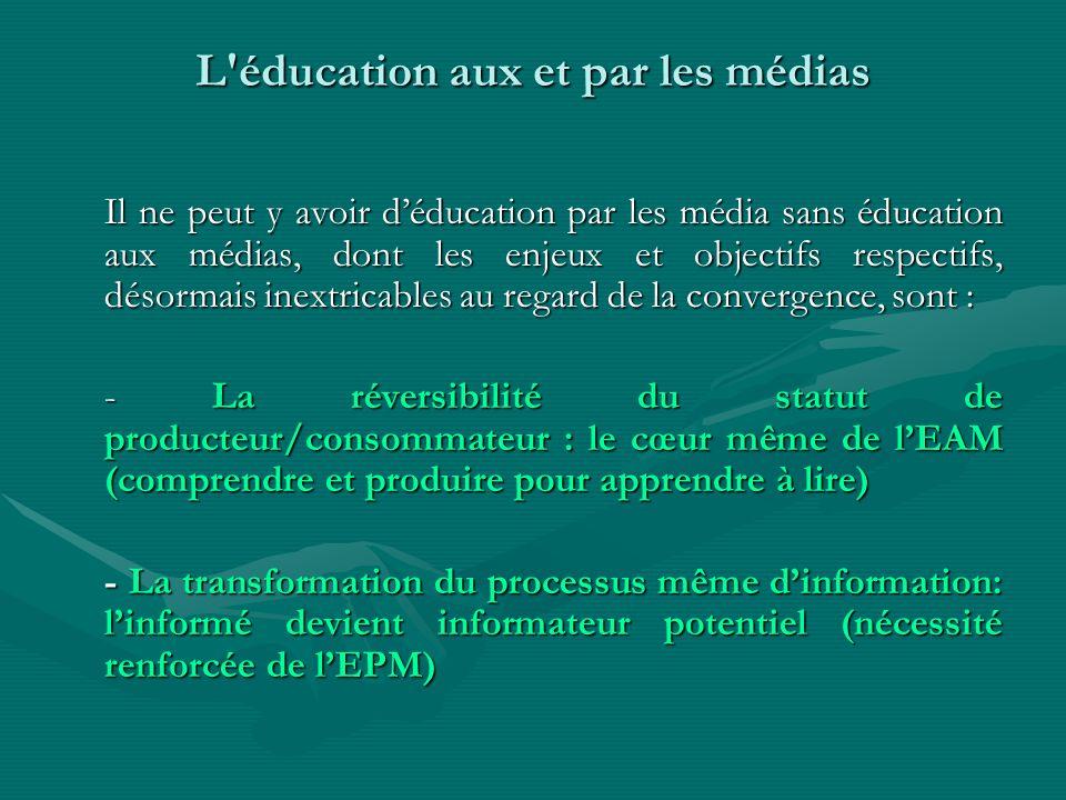 L'éducation aux et par les médias Il ne peut y avoir déducation par les média sans éducation aux médias, dont les enjeux et objectifs respectifs, déso