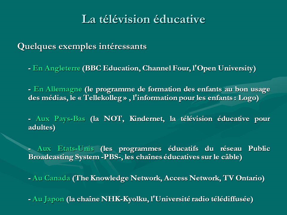 La télévision éducative Quelques exemples intéressants - En Angleterre (BBC Education, Channel Four, l'Open University) - En Allemagne (le programme d