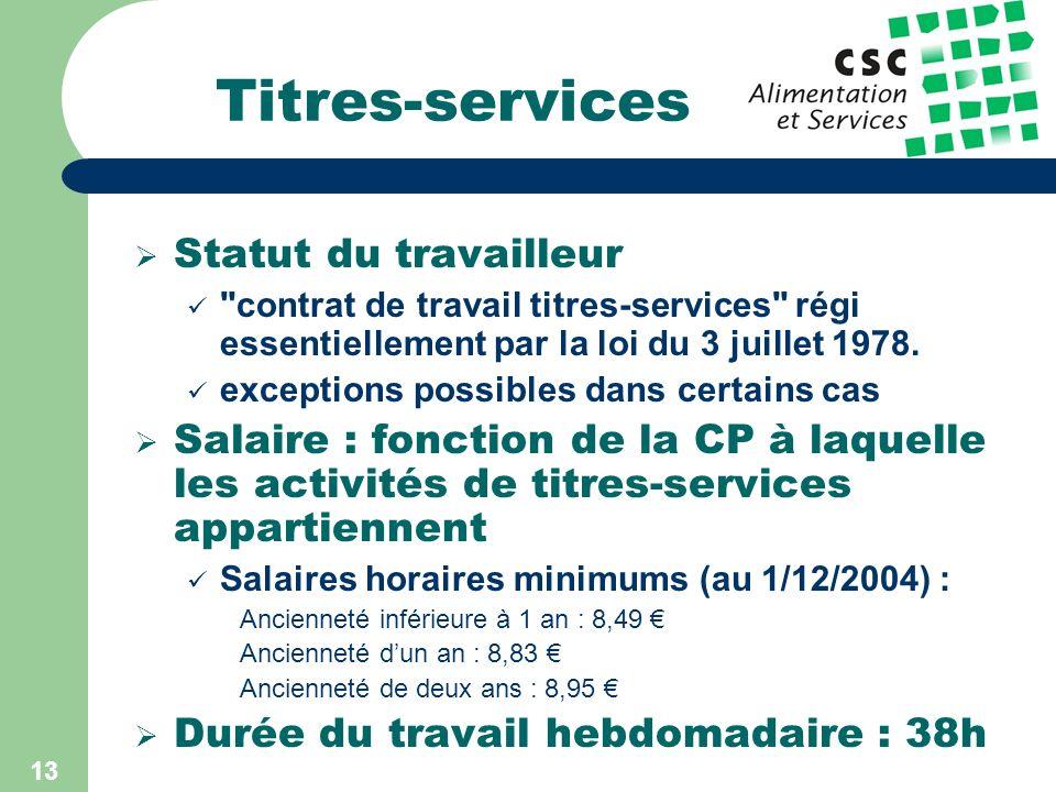 12 Titres-services Principe : 1) Le particulier commande les titres-services (6,7 ) 2) Ceux-ci sont déductibles fiscalement (coût réel : 4,69 ) 3) Il