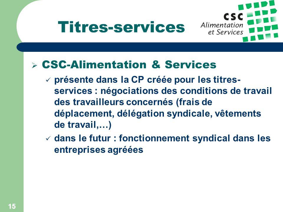 14 Titres-services Données quantitatives 808 entreprises agréées 10.886 travailleurs 137.000 utilisateurs (= particuliers domiciliés en Belgique) Plus