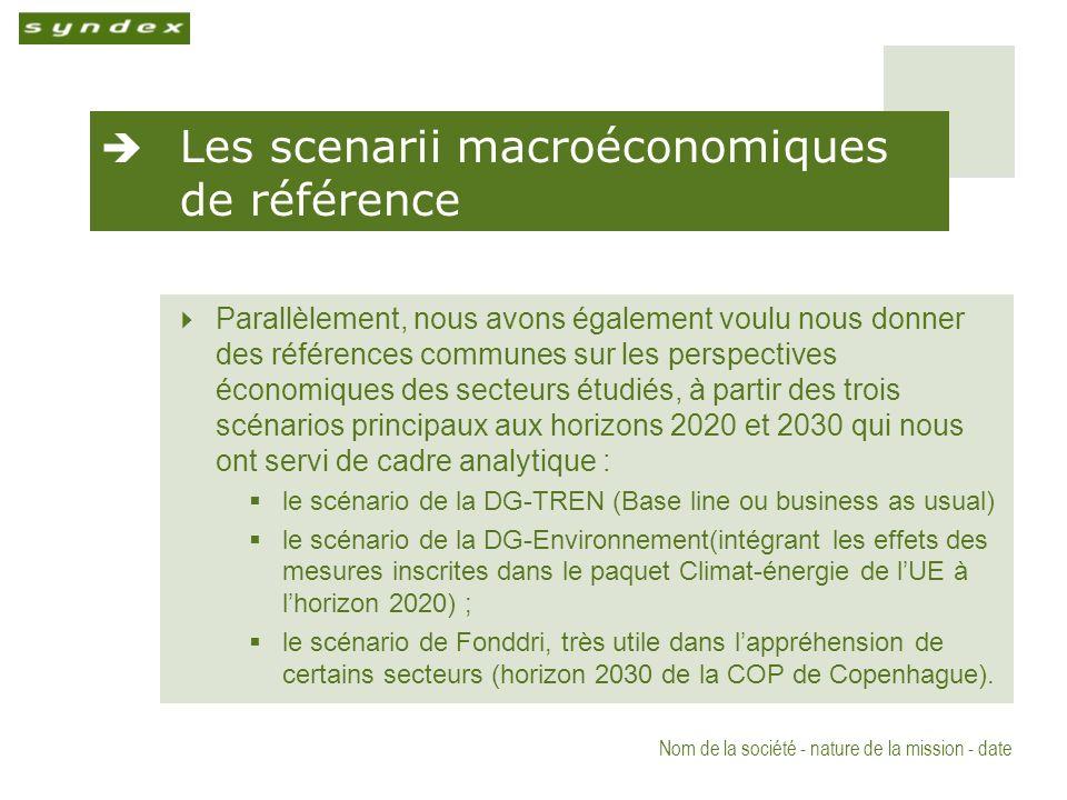 Nom de la société - nature de la mission - date Les scenarii macroéconomiques de référence Parallèlement, nous avons également voulu nous donner des références communes sur les perspectives économiques des secteurs étudiés, à partir des trois scénarios principaux aux horizons 2020 et 2030 qui nous ont servi de cadre analytique : le scénario de la DG-TREN (Base line ou business as usual) le scénario de la DG-Environnement(intégrant les effets des mesures inscrites dans le paquet Climat-énergie de lUE à lhorizon 2020) ; le scénario de Fonddri, très utile dans lappréhension de certains secteurs (horizon 2030 de la COP de Copenhague).