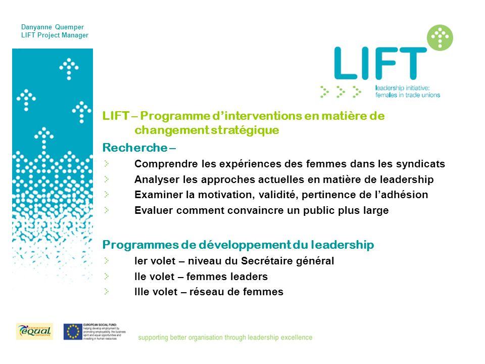 LIFT – Programme dinterventions en matière de changement stratégique Recherche – Comprendre les expériences des femmes dans les syndicats Analyser les