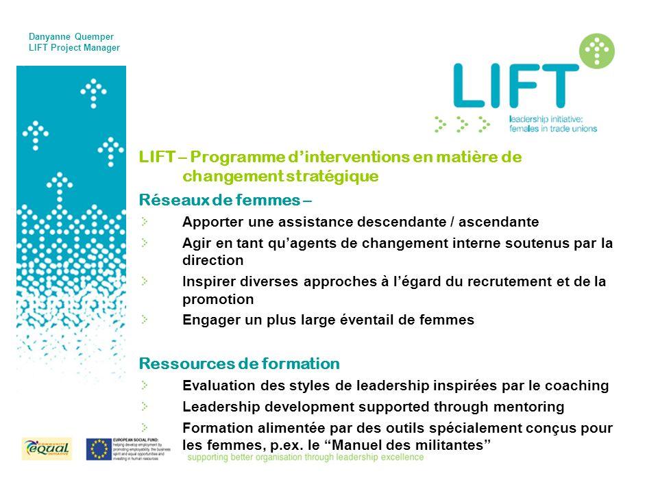 LIFT – Programme dinterventions en matière de changement stratégique Réseaux de femmes – Apporter une assistance descendante / ascendante Agir en tant