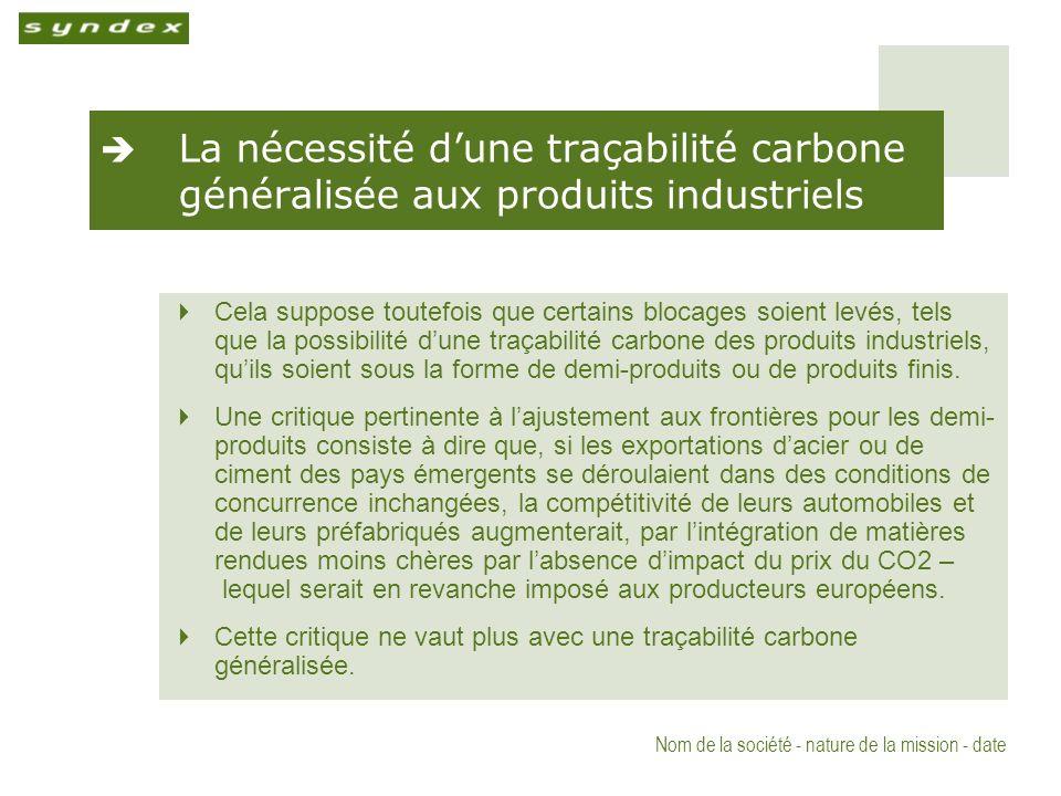 Nom de la société - nature de la mission - date La nécessité dune traçabilité carbone généralisée aux produits industriels Cela suppose toutefois que certains blocages soient levés, tels que la possibilité dune traçabilité carbone des produits industriels, quils soient sous la forme de demi-produits ou de produits finis.