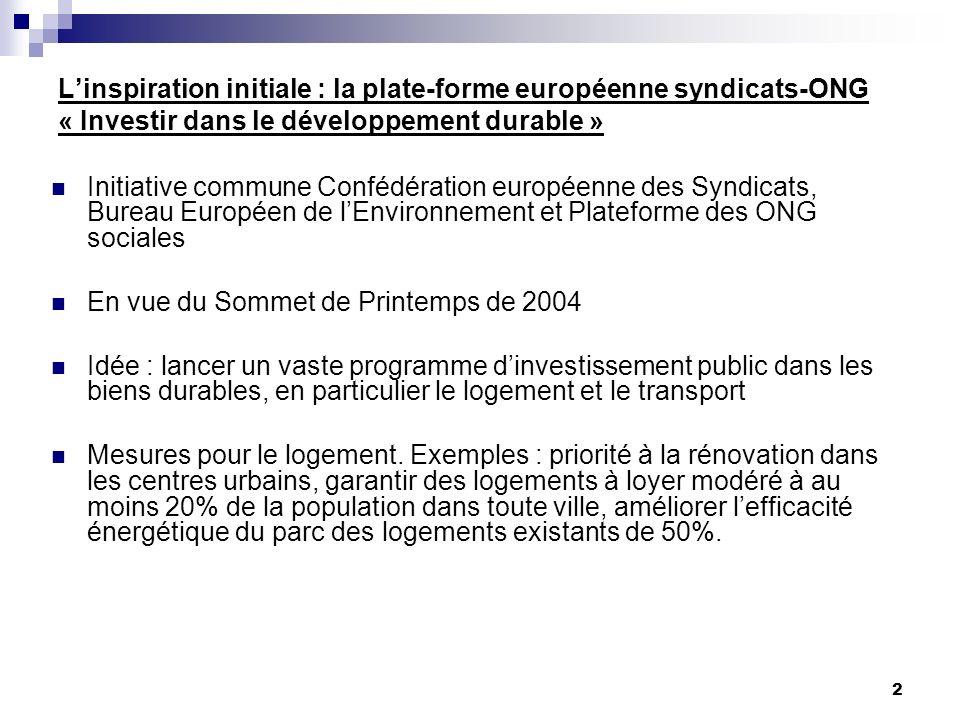 2 Linspiration initiale : la plate-forme européenne syndicats-ONG « Investir dans le développement durable » Initiative commune Confédération européen