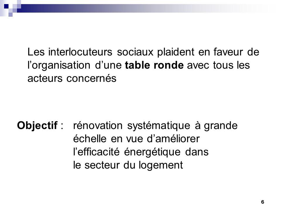 6 Les interlocuteurs sociaux plaident en faveur de lorganisation dune table ronde avec tous les acteurs concernés Objectif : rénovation systématique à