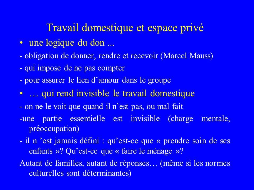 Travail domestique et espace privé une logique du don... - obligation de donner, rendre et recevoir (Marcel Mauss) - qui impose de ne pas compter - po