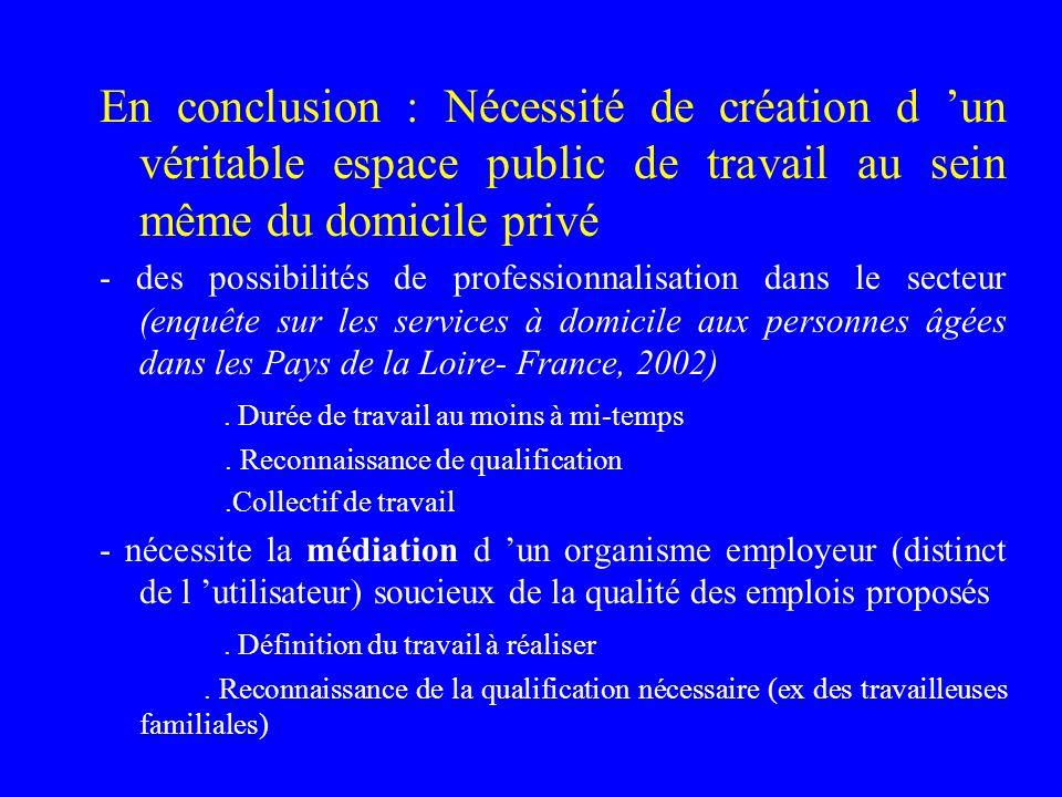 En conclusion : Nécessité de création d un véritable espace public de travail au sein même du domicile privé - des possibilités de professionnalisatio