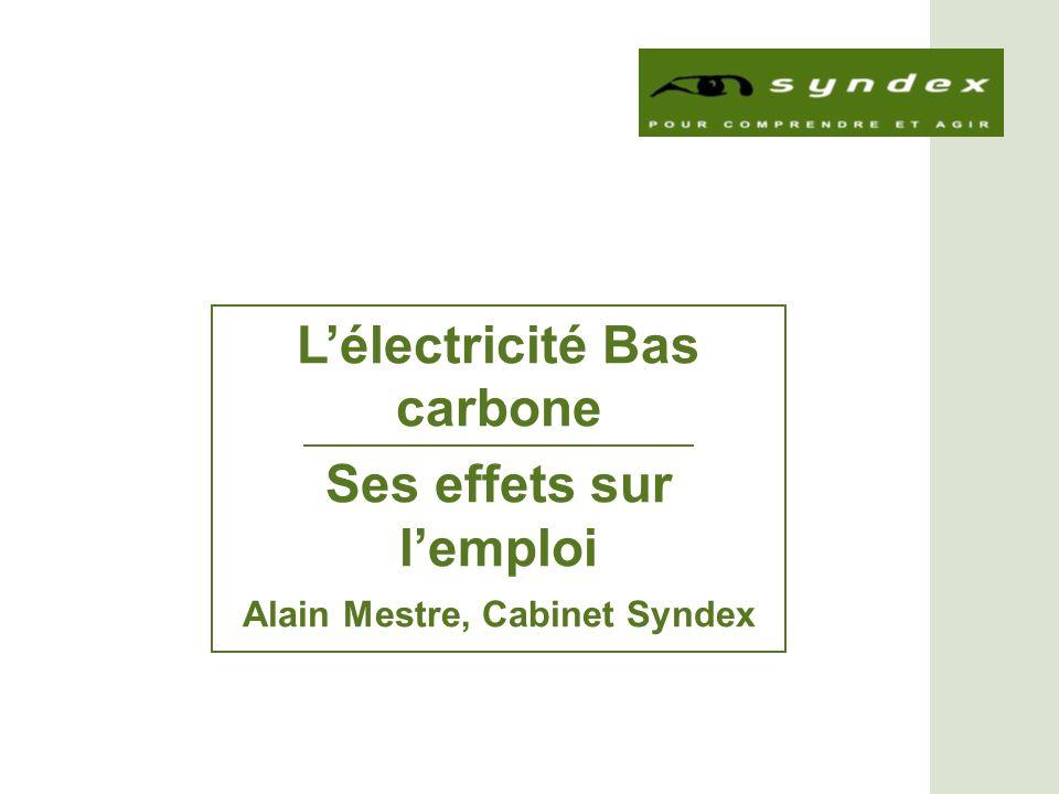 Lélectricité Bas carbone Ses effets sur lemploi Alain Mestre, Cabinet Syndex