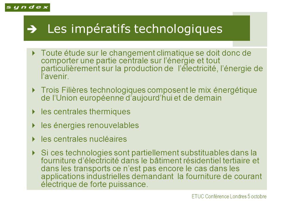 ETUC Conférence Londres 5 octobre Les impératifs technologiques Toute étude sur le changement climatique se doit donc de comporter une partie centrale sur lénergie et tout particulièrement sur la production de lélectricité, lénergie de lavenir.