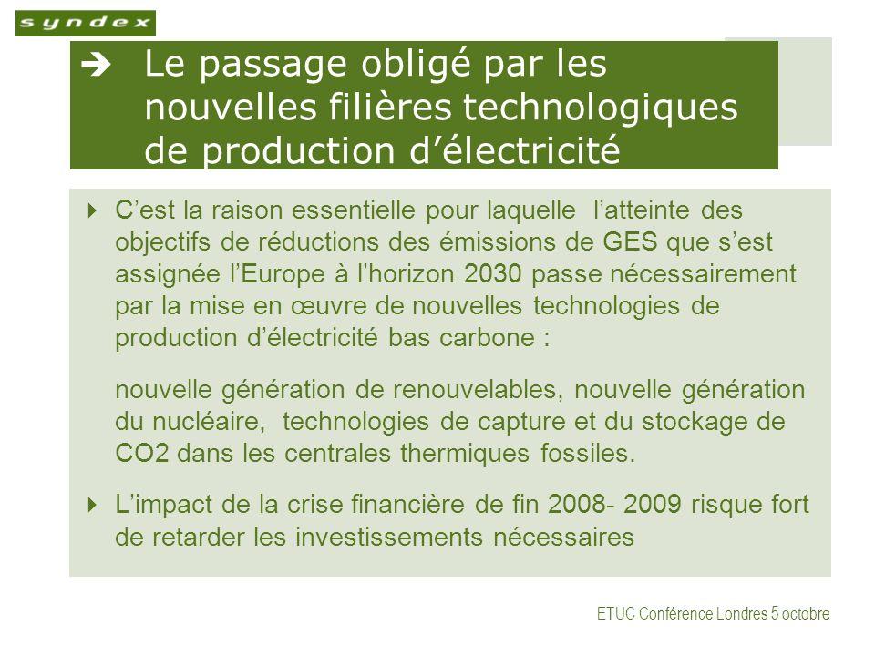 ETUC Conférence Londres 5 octobre Le passage obligé par les nouvelles filières technologiques de production délectricité Cest la raison essentielle po