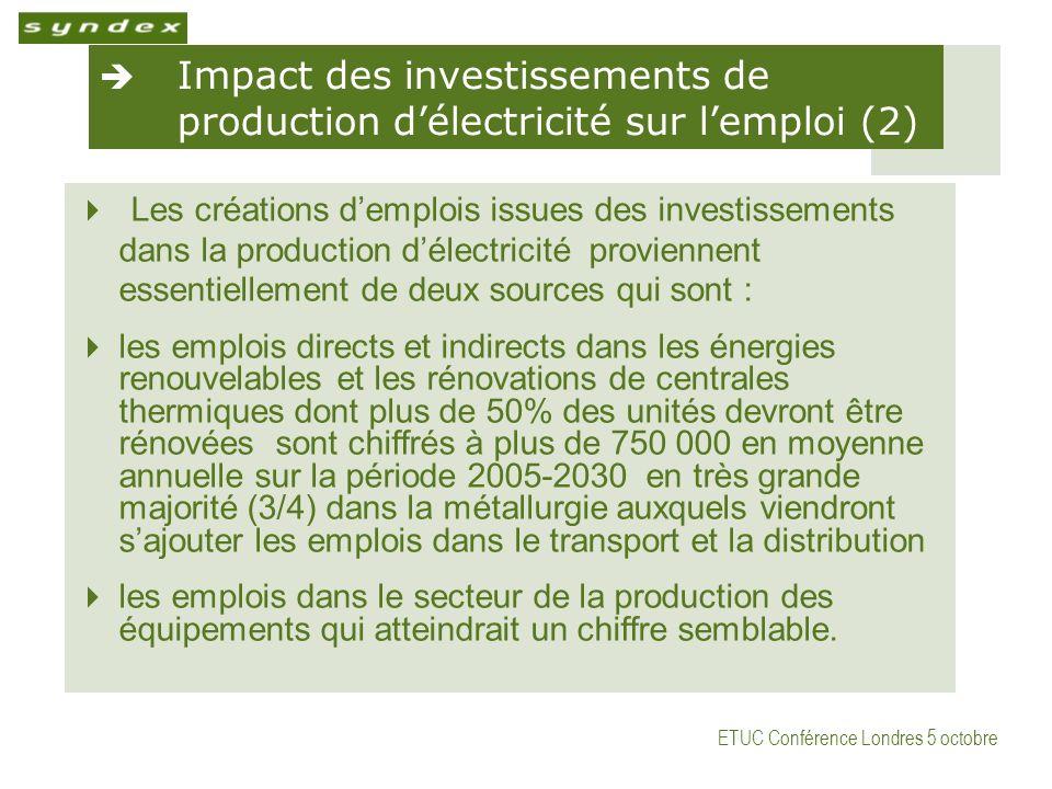 ETUC Conférence Londres 5 octobre Impact des investissements de production délectricité sur lemploi (2) Les créations demplois issues des investissements dans la production délectricité proviennent essentiellement de deux sources qui sont : les emplois directs et indirects dans les énergies renouvelables et les rénovations de centrales thermiques dont plus de 50% des unités devront être rénovées sont chiffrés à plus de 750 000 en moyenne annuelle sur la période 2005-2030 en très grande majorité (3/4) dans la métallurgie auxquels viendront sajouter les emplois dans le transport et la distribution les emplois dans le secteur de la production des équipements qui atteindrait un chiffre semblable.