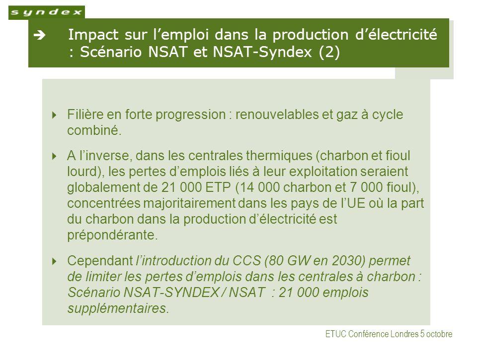 ETUC Conférence Londres 5 octobre Impact sur lemploi dans la production délectricité : Scénario NSAT et NSAT-Syndex (2) Filière en forte progression : renouvelables et gaz à cycle combiné.