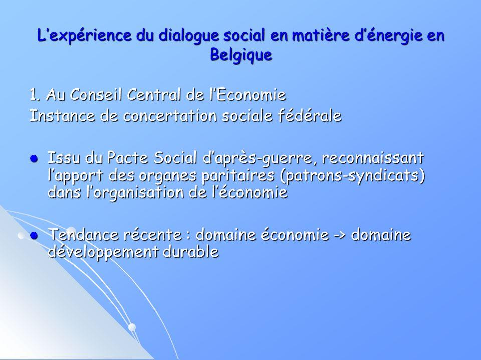 Lexpérience du dialogue social en matière dénergie en Belgique 1.