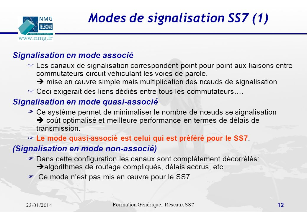 23/01/2014 Formation Générique: Réseaux SS7 11 STP = PTS: Signaling Transfer Point SSP = CAS : Switching Point TSw : Transit Switch Sw : Local Switch Architecture SS7 (2)