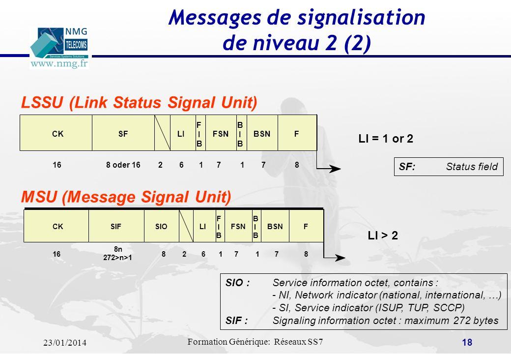 23/01/2014 Formation Générique: Réseaux SS7 17 Un message SS7 est appelé « Signal Unit » (SU) ou « trame sémaphore ». Il y a trois types de SU: Fill-I