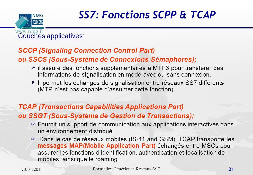 23/01/2014 Formation Générique: Réseaux SS7 20 SS7: Fonctions ISUP & TUP Couches applicatives: ISDN User Part (ISUP) ISUP définit le protocole utilisé