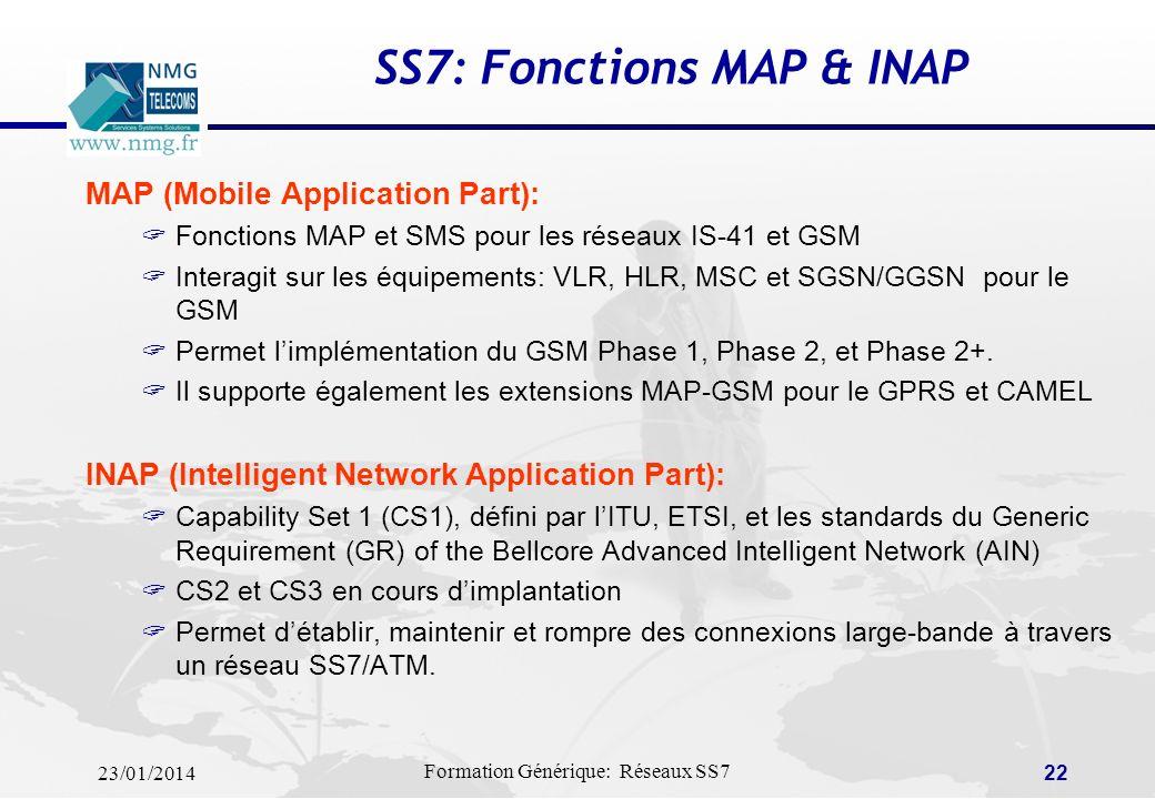23/01/2014 Formation Générique: Réseaux SS7 21 SS7: Fonctions SCPP & TCAP Couches applicatives: SCCP (Signaling Connection Control Part) ou SSCS (Sous